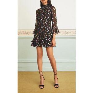 Saloni Marissa Silk Blend Lurex Ruffle Mini Dress
